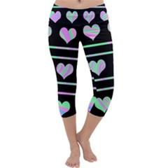 Pastel harts pattern Capri Yoga Leggings