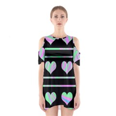Pastel harts pattern Shoulder Cutout One Piece