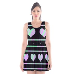 Pastel harts pattern Scoop Neck Skater Dress
