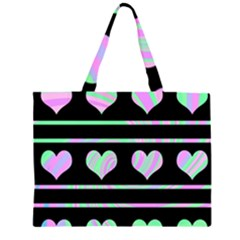 Pastel harts pattern Zipper Large Tote Bag