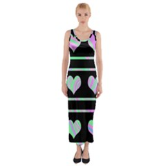 Pastel harts pattern Fitted Maxi Dress