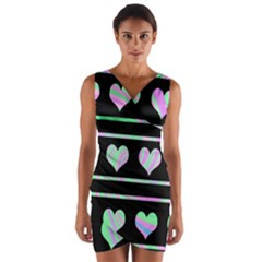 Pastel harts pattern Wrap Front Bodycon Dress
