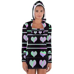 Pastel harts pattern Women s Long Sleeve Hooded T-shirt