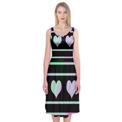Pastel harts pattern Midi Sleeveless Dress