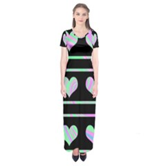 Pastel harts pattern Short Sleeve Maxi Dress
