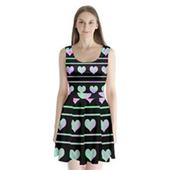Pastel harts pattern Split Back Mini Dress