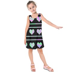 Pastel harts pattern Kids  Sleeveless Dress