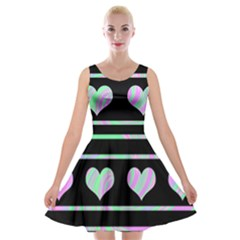 Pastel harts pattern Velvet Skater Dress