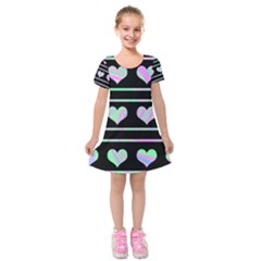 Pastel harts pattern Kids  Short Sleeve Velvet Dress