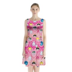 Alice In Wonderland Sleeveless Chiffon Waist Tie Dress