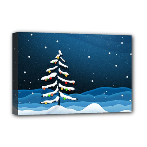 Christmas Xmas Fall Tree Deluxe Canvas 18  x 12