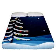 Christmas Xmas Fall Tree Fitted Sheet (Queen Size)