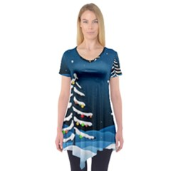 Christmas Xmas Fall Tree Short Sleeve Tunic