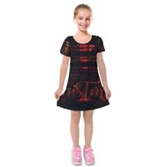 Christmas Advent Gloss Sparkle Kids  Short Sleeve Velvet Dress