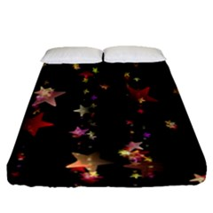 Christmas Star Advent Golden Fitted Sheet (Queen Size)