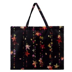 Christmas Star Advent Golden Zipper Large Tote Bag
