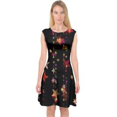 Christmas Star Advent Golden Capsleeve Midi Dress