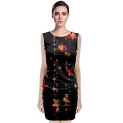 Christmas Star Advent Golden Sleeveless Velvet Midi Dress