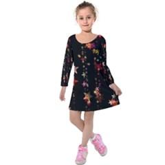 Christmas Star Advent Golden Kids  Long Sleeve Velvet Dress