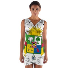 Coat of Arms of The Central African Republic Wrap Front Bodycon Dress
