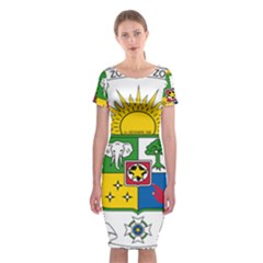 Coat of Arms of The Central African Republic Classic Short Sleeve Midi Dress