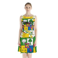 Coat of Arms of The Central African Republic Sleeveless Chiffon Waist Tie Dress