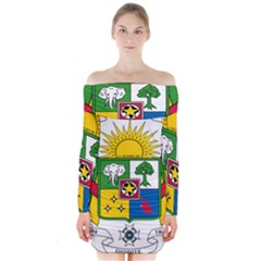 Coat of Arms of The Central African Republic Long Sleeve Off Shoulder Dress