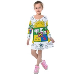 Coat Of Arms Of The Central African Republic Kids  Long Sleeve Velvet Dress