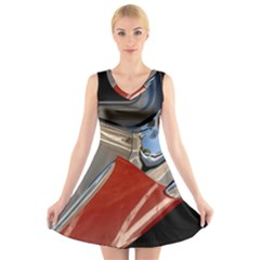 Classic Car Design Vintage Restored V-Neck Sleeveless Skater Dress