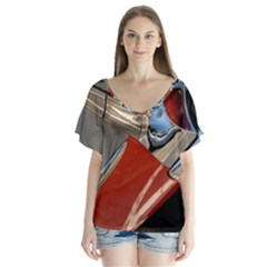 Classic Car Design Vintage Restored Flutter Sleeve Top