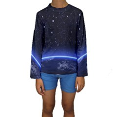 Christmas Xmas Night Pattern Kids  Long Sleeve Swimwear