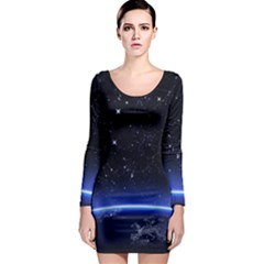 Christmas Xmas Night Pattern Long Sleeve Bodycon Dress