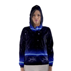 Christmas Xmas Night Pattern Hooded Wind Breaker (Women)