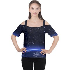 Christmas Xmas Night Pattern Women s Cutout Shoulder Tee