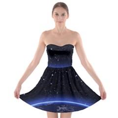 Christmas Xmas Night Pattern Strapless Bra Top Dress