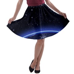 Christmas Xmas Night Pattern A-line Skater Skirt