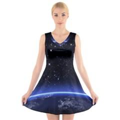 Christmas Xmas Night Pattern V-Neck Sleeveless Skater Dress