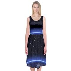 Christmas Xmas Night Pattern Midi Sleeveless Dress