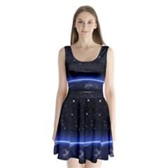 Christmas Xmas Night Pattern Split Back Mini Dress