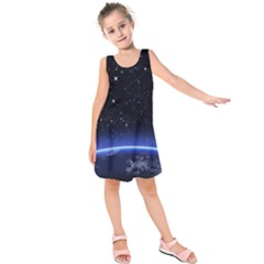 Christmas Xmas Night Pattern Kids  Sleeveless Dress