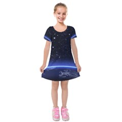 Christmas Xmas Night Pattern Kids  Short Sleeve Velvet Dress