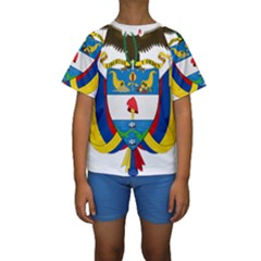 Coat of Arms of Colombia Kids  Short Sleeve Swimwear