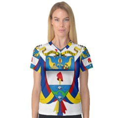 Coat of Arms of Colombia Women s V-Neck Sport Mesh Tee