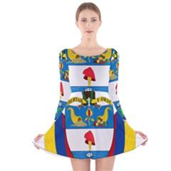 Coat of Arms of Colombia Long Sleeve Velvet Skater Dress