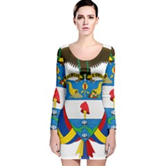 Coat of Arms of Colombia Long Sleeve Velvet Bodycon Dress