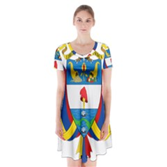 Coat of Arms of Colombia Short Sleeve V-neck Flare Dress