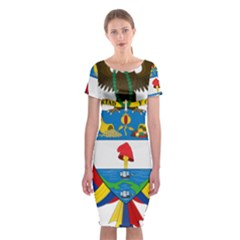Coat of Arms of Colombia Classic Short Sleeve Midi Dress