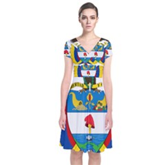 Coat of Arms of Colombia Short Sleeve Front Wrap Dress