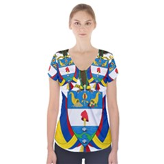 Coat of Arms of Colombia Short Sleeve Front Detail Top