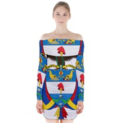 Coat of Arms of Colombia Long Sleeve Off Shoulder Dress